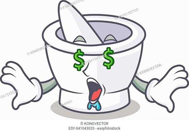 Money eye mortar mascot cartoon style vector illustration