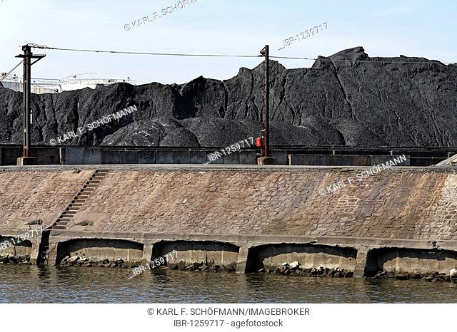 Piles of coal on the coal island, Duisburg-Rohrorter ports, DuisPort inland port, Duisburg, Ruhr, North Rhine-Westphalia, Germany, Europe