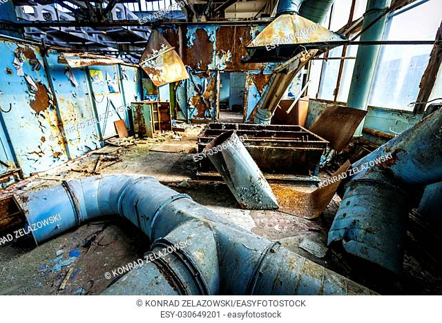 Main workshop of abandoned Jupiter Factory in Pripyat ghost town of Chernobyl Nuclear Power Plant Zone of Alienation in Ukraine