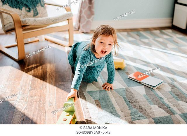 Female toddler playing on living room rug