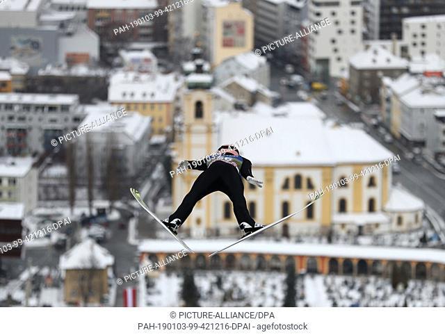 03 January 2019, Austria, Innsbruck: Nordic skiing / ski jumping: World Cup, Four Hills Tournament, Large Hills, Men, Qualification
