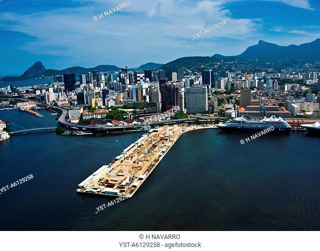 Photo illustrated Guanabara bay, location, city, rio de janeiro, Brazil