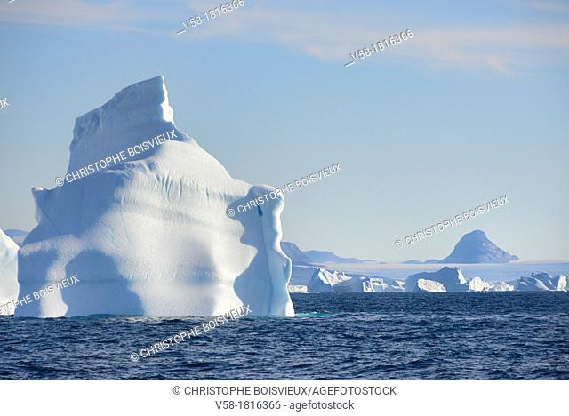 Greenland, Melville Bay, Red Head surroundings, Icebergs and ice cap