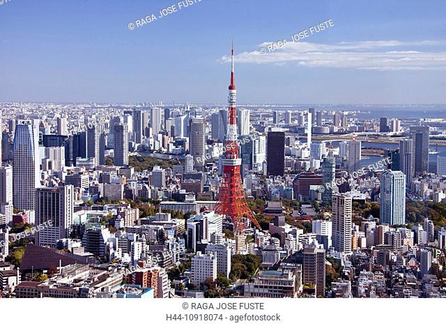 Japan, Asia, Tokyo, city, Tokyo Skyline, Tokyo Tower, architecture, big, buildings, city, huge, metropolis, skyline, tower, travel, touristic