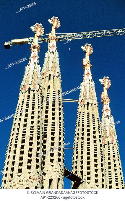 Detail of bell towers of the Sagrada Familia church by Gaudí. Barcelona. Spain