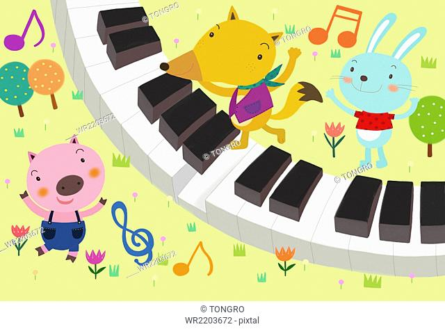 Three personified animals playing with keyboard instrument
