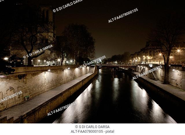 Seine river by night, Paris, France