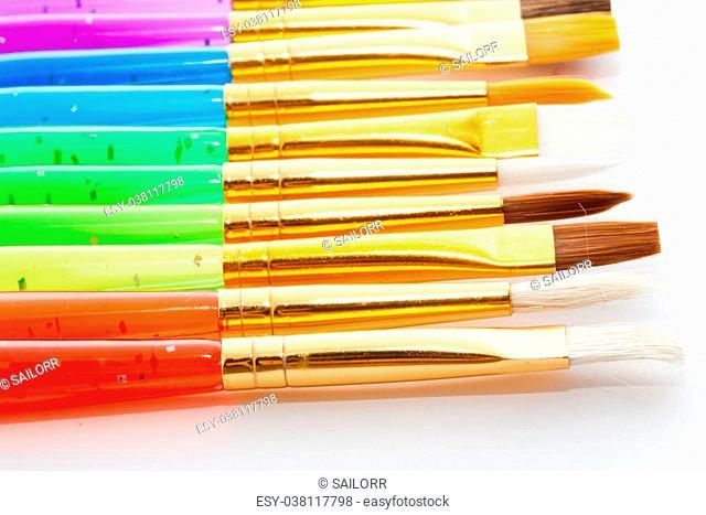 Set of artistic brushes on white background