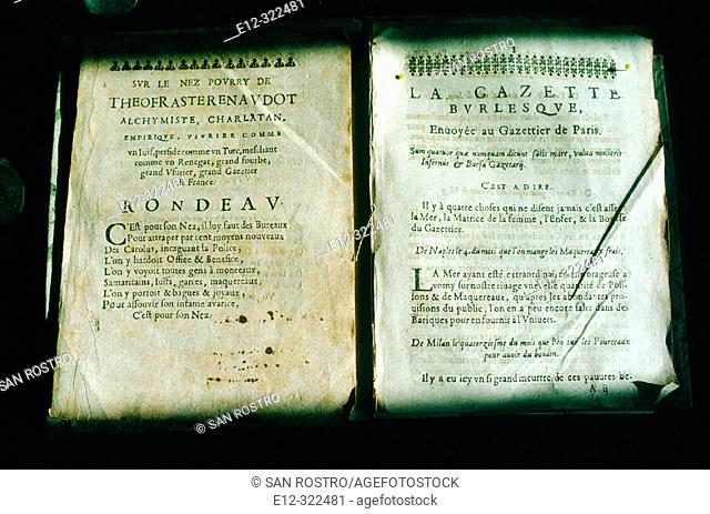First newspaper printed in France by Théophraste Renaudot (1586-1653). Loudun. Vienne, France