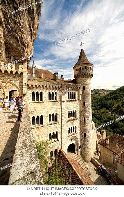 France, Midi-Pyrénées, Rocamadour. Picturesque town in a gorge above a tributary of the River Dordogne, best known for its historical monuments and its...