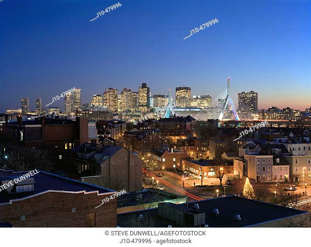 Night skyline with Zakim bridge, from Charlestown, Boston, Massachusetts. USA