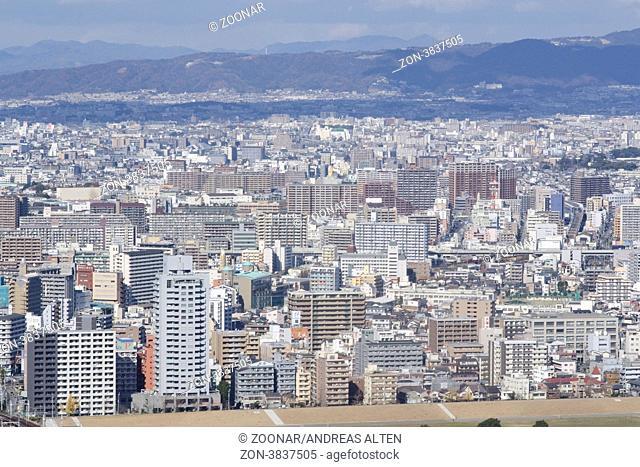 Panoramablick auf Osaka und Toyonaka / Panorama view of Osaka and Toyonaka on a sunny day