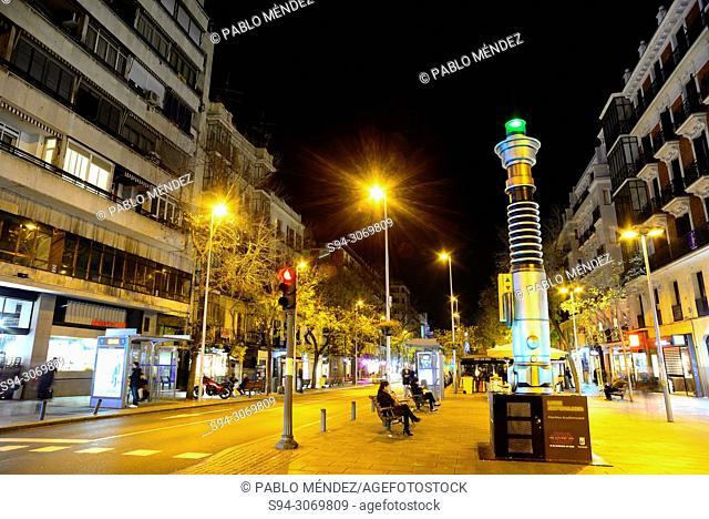 Luke and Rey light sword in Quevedo square, Madrid, Spain