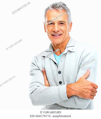 Portrait of a happy senior man standing with arms crossed on white background