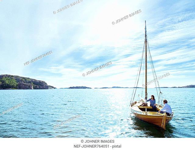 A couple in a sailing-boat, Sweden