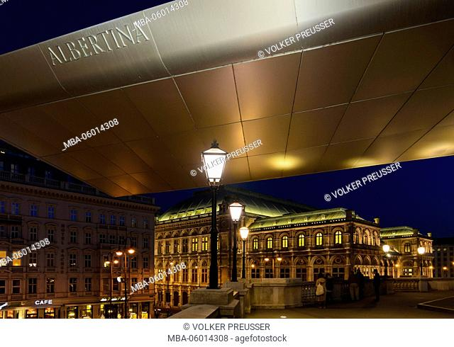 Albertina with the striking flight roof named 'Soravia Wing' by Hans Hollein, view to the Staatsoper, Austria, Vienna, 01., Vienna