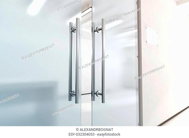 Blank glass door with metal handles mock up, 3d rendering. Office entrance with space sign board on wall mockup. Opened luxury hall doorway with transparent...