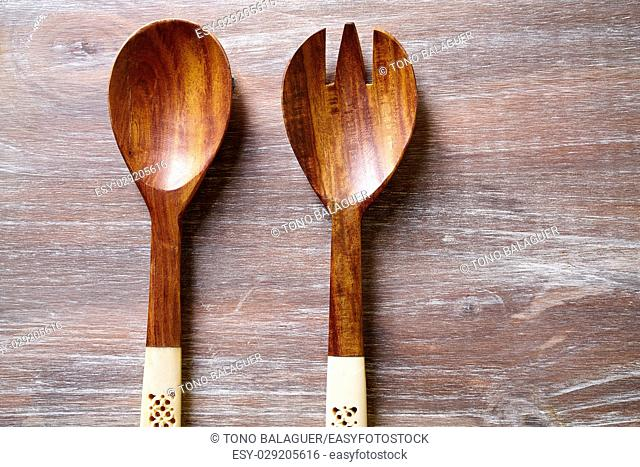 wood spoon and fork on wooden board kitchen tools