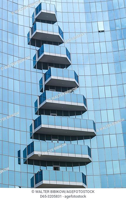 Armenia, Yerevan, blue glass balconies