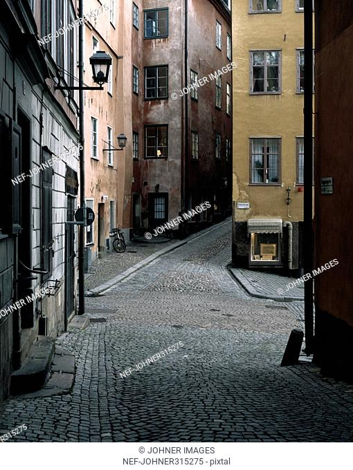 Empty street in the Old town of Stockholm