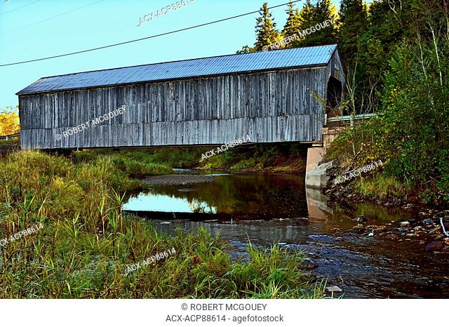 A side view of the Oldfield covered bridge at Smith Creek New Brunswick Canada