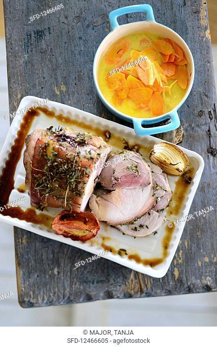 Pork roulade with saffron carrots