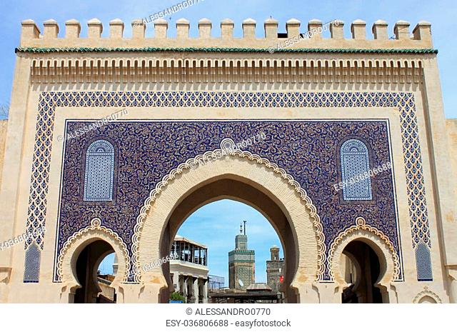 Bab Bou Jeloud gate (The Blue Gate) in Fez, Morocco