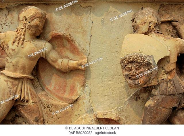 Memnon against Achilles, detail of the Trojan War, relief, east frieze of the Siphnian Treasury, 530-525 BC, from Delphi, Greece