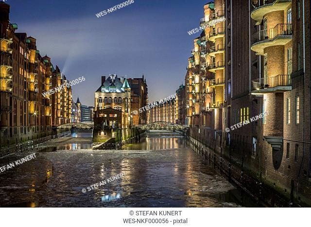 Germany, Hamburg, The Wasserschloss in the historic Warehouse District of Hamburg