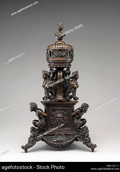 Incense burner. Date: ca. 1530-40; Culture: Northern Italian, probably Padua; Medium: Bronze, with dark brown lacquer patina; Dimensions: Height: 13 3/4 in