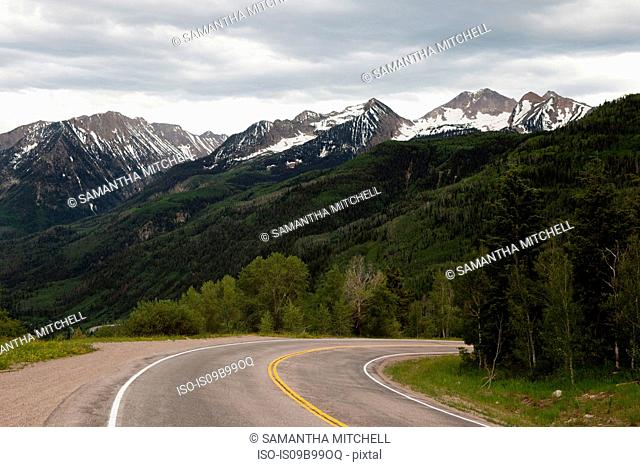 View of highway and mountainous landscape, Colorado, USA