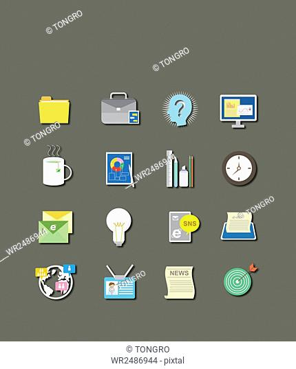 Set of various icons related to business