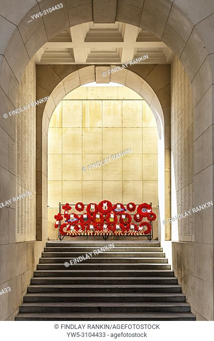 Wreathes and poppies laid at the Menin Gate in remembrance of the fallen and never found during the first world war, Menin gate, Ypres, Belgium