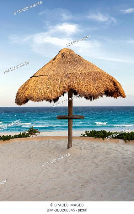 Palapa thatched shade on the beach