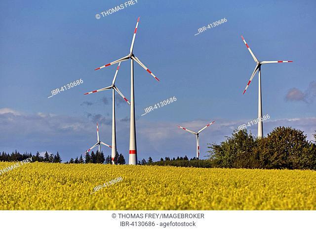 Wind turbines in Hunsrück, Kappel, Rhineland-Palatinate, Germany