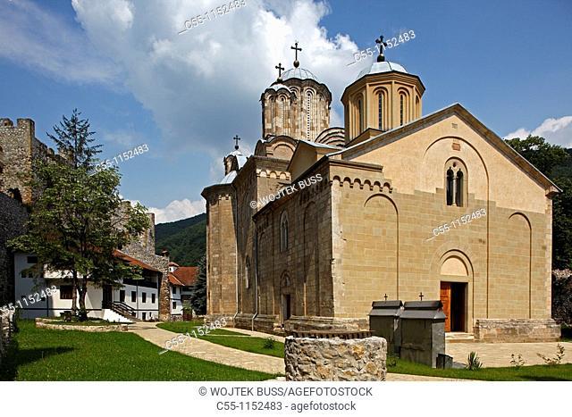 Serbia,Manasija Monastery,founded by Despot Stefan Lazarevi,1407-1418,Church of St Trinity,Orthodox,christian,religious,exterior,outside,facade,colour