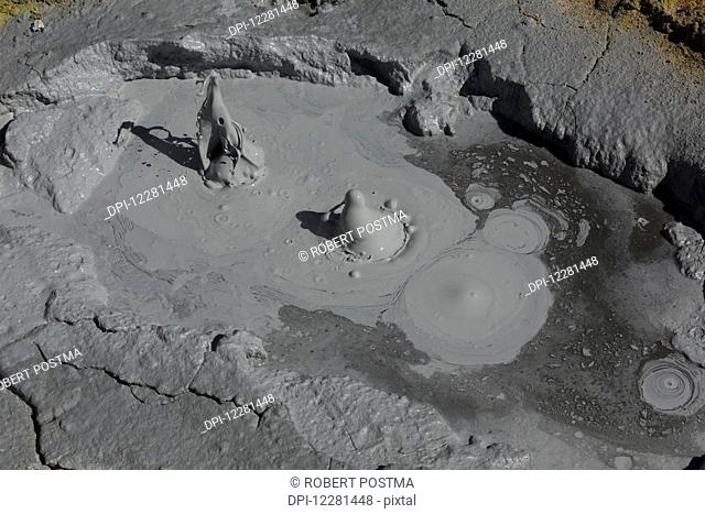 The geothermal area causes mud to boil, Altiplano region; Sur Lipez, Bolivia