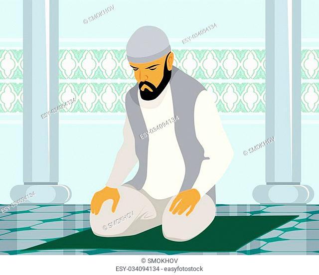 Vector illustration of a muslim man praying