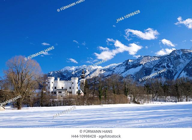 Marzoll castle, winter, with Untersberg in the background, Bavarian