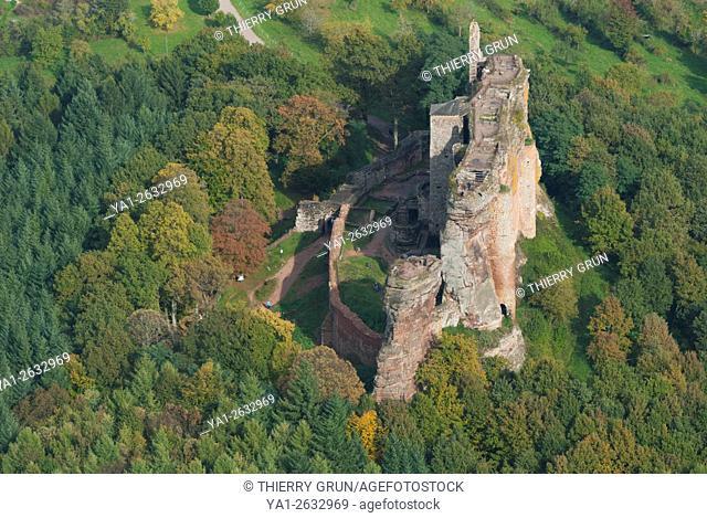 France. Bas Rhin (67), Nothern Vosges, Lembach, Fleckenstein castle (aerial view)