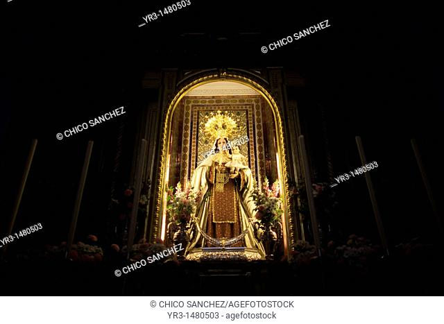 A wooden statue of the Virgin Carmen is publicly displayed in the main altar of the church of Prado del Rey, southern Spain's Cadiz province, Andalucia, Spain