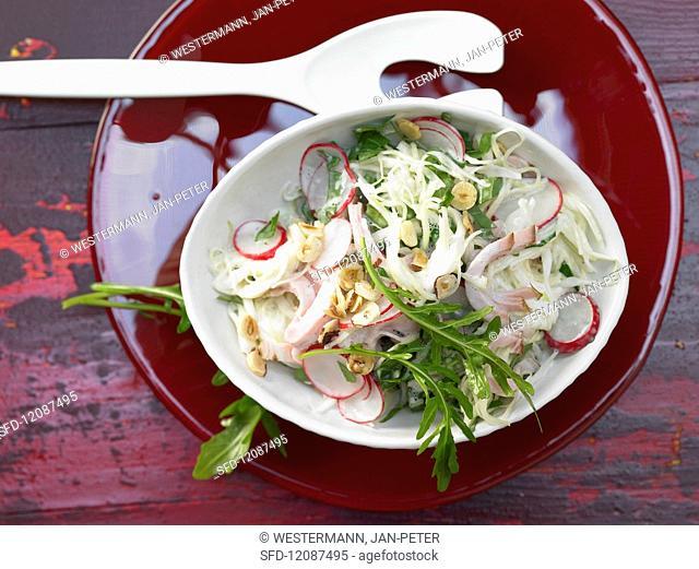 Cabbage salad with radishes, hazelnut and smoked pork chops