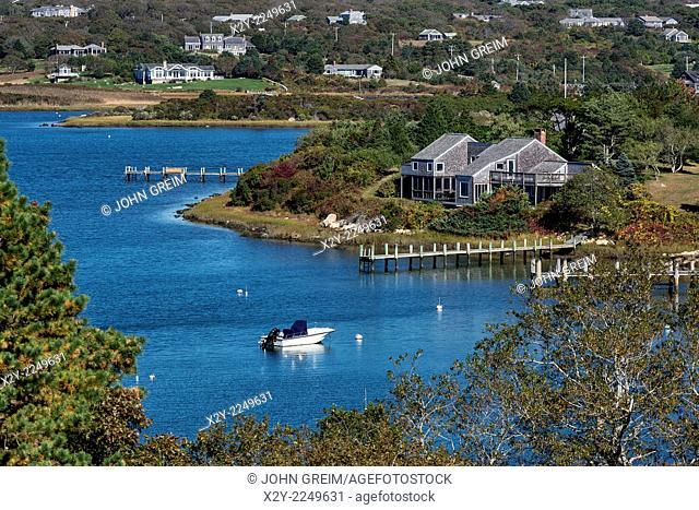 House overlooking Nashaquitsa Pond, Chilmark, Martha's Vineyard, Massachusetts, USA