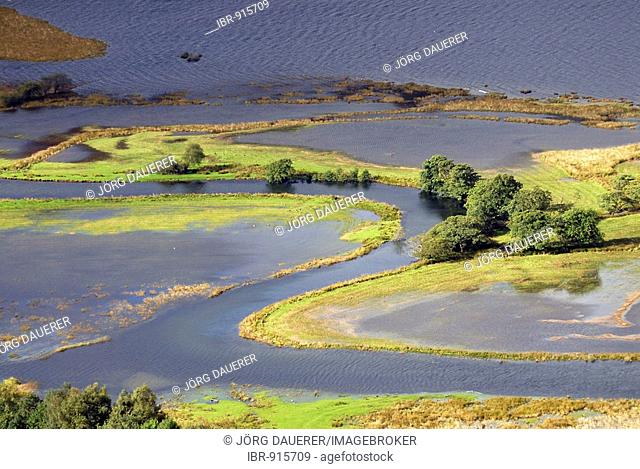 The southern end of Derwent Water during autumn flooding, Lake District, Cumbria, United Kingdom, Europe
