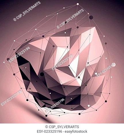 Cybernetic abstract contrast 3D illustration, vector digital eps8 lattice asymmetric object placed over dark background