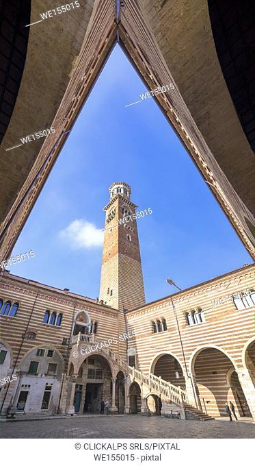Verona, Veneto, Italy. Palazzo del Mercato Vecchio with Torre dei Lamberti