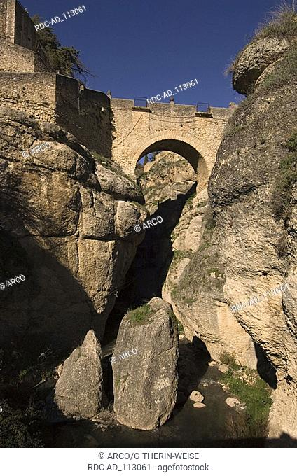 El Puente Viejo old bridge over El Tajo river Ronda Andalusia Spain