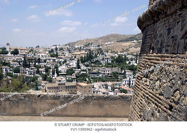 View of Granada from Alcazaba, La Alhambra, Granada, Andalucia, Spain, Europe