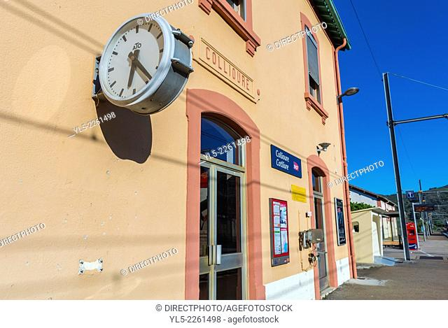 Collioure, France, Clock outside Train Station at Seaside Village near Perpignan, South of France