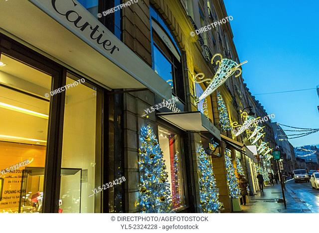 Paris, People Christmas Shopping, Outside Street Scenes, Night, Luxury Shops, Rue Faubourg Saint Honoré